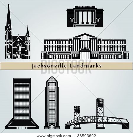 Jacksonville landmarks and monuments isolated on blue background in editable vector file