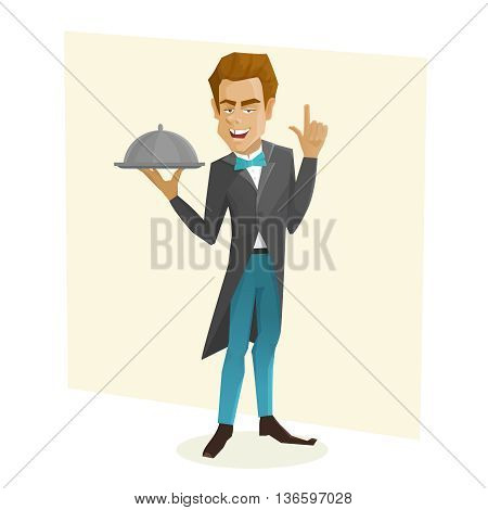 Waiter with a tray. Cartoon waiter holds dish. Vector illustration of cartoon flat waiter.