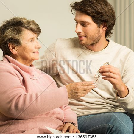 Son Caring About His Mother