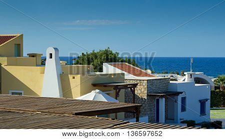 colorful Cretan architecture. Coasline. Island Crete, Greece
