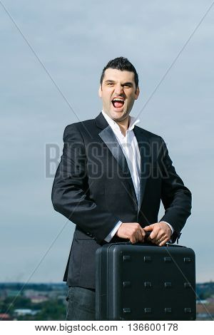 Businessman With Briefcase Outdoor
