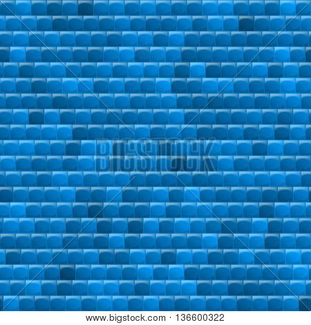 Heterogeneous corrugated surface. Seamless pattern blue background