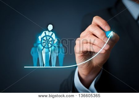 Business improvement and development concept. Captain (symbol of team leader) change direction.