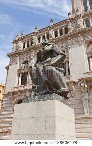 PORTO PORTUGAL - MAY 26 2016: Monument Almeida Garett near City Hall in the center of Porto (UNESCO site). Almeida Garett (1799-1854) was a Portuguese poet playwright novelist and politician