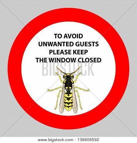 Sticker with Warning sign insect wasp icon . Wasp Silhouette Vector illustration