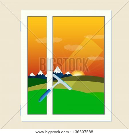 Vector window cleaning scrubber and transparent glass with sunset landscape in flat design. Cleaning service element