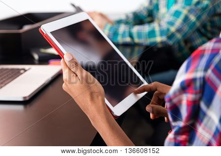 Tablet black blank screen woman point finger casual wear african american hands business people technology close up female hands