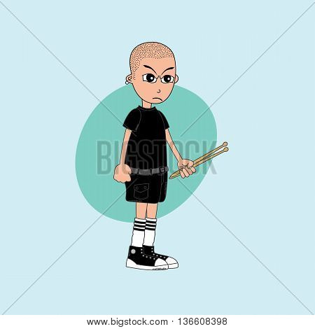 Male Cartoon Character Drummer Music Band