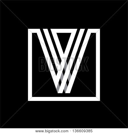 V capital letter made of of three white stripes enclosed in a square. . Overlapping with shadows monogram, logo, emblem. Trendy design.