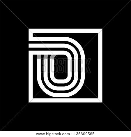 O capital letter made of of three white stripes enclosed in a square. . Overlapping with shadows monogram, logo, emblem. Trendy design.