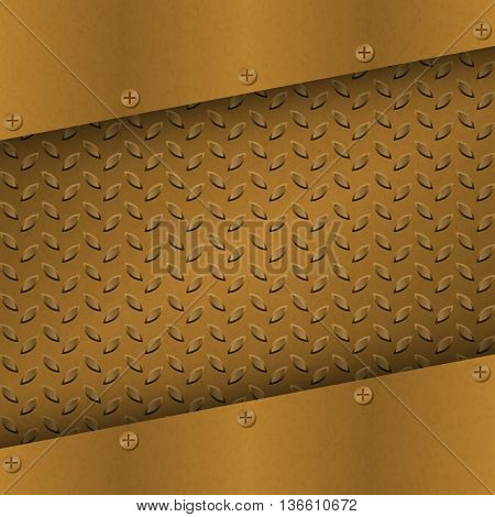 Rusty Metal Background with plate and rivets. Metallic grunge texture. Brass copper latticed template. Abstract techno vector illustration.