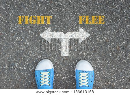 One standing at the crossroad choosing what to do next - fight or flee