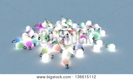 Several colored light bulbs on the ground. Colored lights are powered on. 3D Rendering