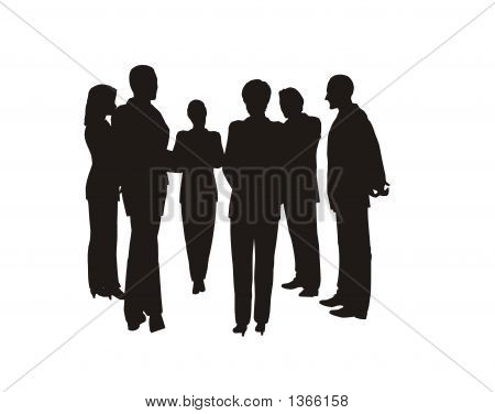 black silhouette of the business people team poster