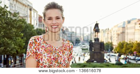 Portrait Of Smiling Woman Standing Near National Museum, Prague