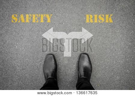 Black shoes has decision to make at the cross road - safery or risk