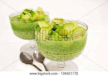 Matcha green tea chia seed pudding with avocado. The concept of healthy proper nutrition for the whole family.