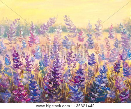 Field of delicate flowers in front of a forest. Lavender. Blue-purple flowers in summer oil painting on canvas. Impasto artwork. Impressionism art.