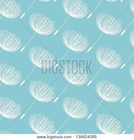 Abstract Fluffy Dandelion Flower Seamless Pattern. Vector Illustration