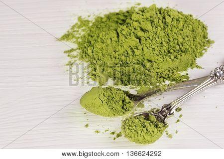powdered green tea. Japanese Matcha tea on a white background.