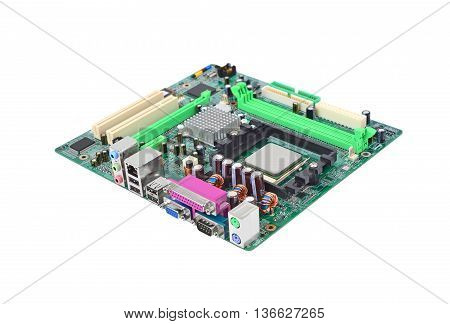Printed computer motherboard isolated on white background