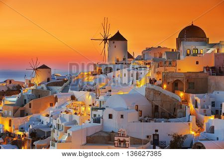 View of Oia at sunset Santorini, greece, Europe.
