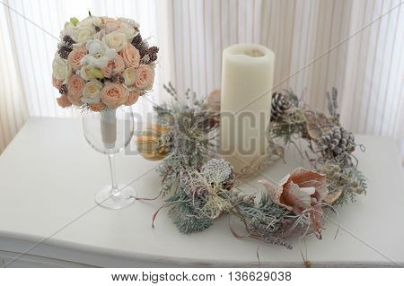beautifu bouquet of roses with christmas decorations