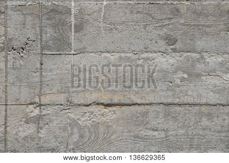 Concrete Wall With Cement Sags Close Up