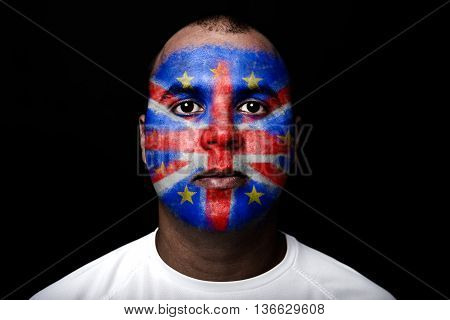 Man Brexit Face Flag