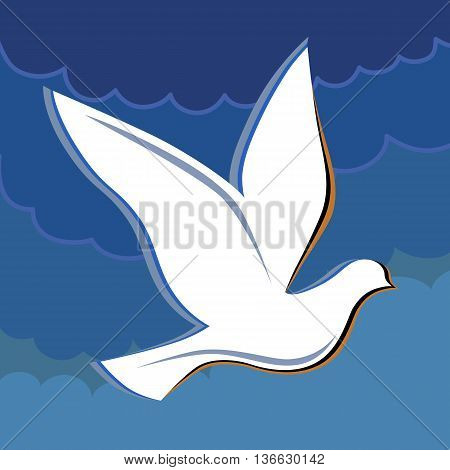 Soaring dove in the blue sky logo vector illustration isolated on background