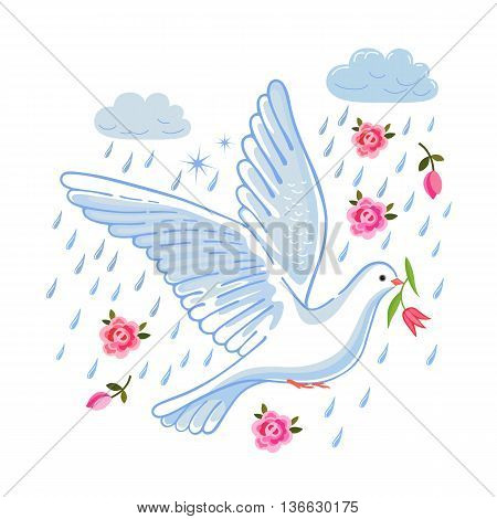 Soaring dove with flower in the clouds vector illustration isolated on white background