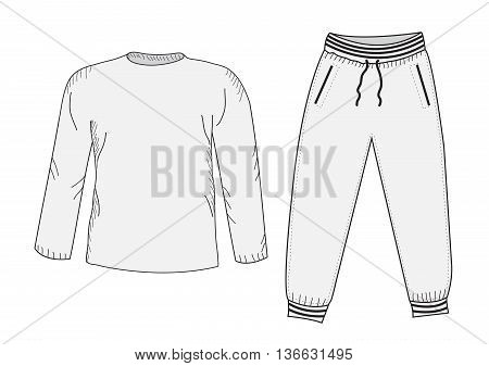 Jacket and sweatpants. Tracksuit sketch set. Things in the style of hand drawing. Sportswear. Sports Mockup suit. Vector illustration
