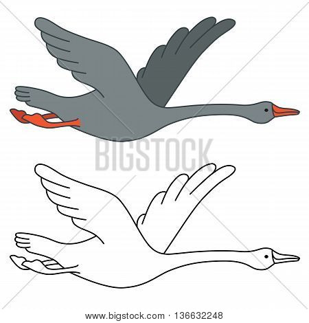 Soaring goose vector illustration isolated on white background