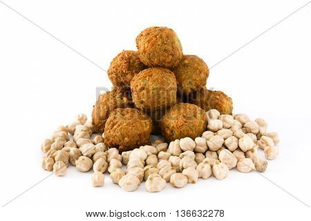 Fresh vegetarian falafels and chickpeas isolated on white background
