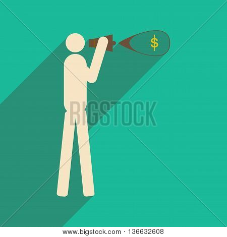 Modern flat icon with shadow man megaphone money