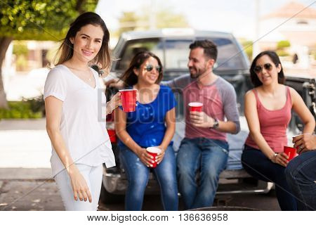 Beautiful Woman Hanging Out With Friends