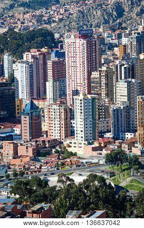 LA PAZ BOLIVIA - APR 5 2015: Cityscape of La Paz in Bolivia
