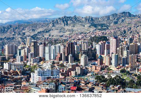 LA PAZ BOLIVIA - APR 05 2015: Cityscape of La Paz in Bolivia