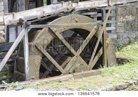 Old wooden water mill in Etara Gabrawo
