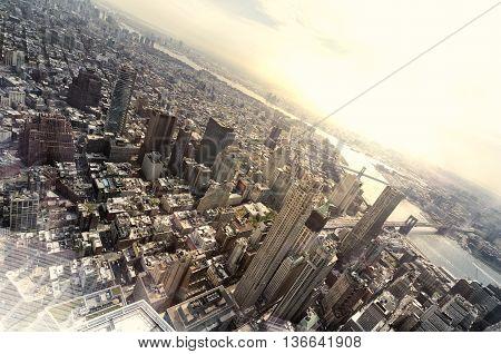 Very high view of Manhattan, New York