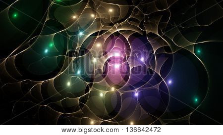 Myriad of colored lights. Far space. 3D illustration. Sacred geometry. Mysterious psychedelic relaxation pattern. Fractal abstract texture. Digital artwork graphic design astrology alchemy magic