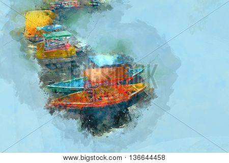 Boat in a River / Lake Painting Stock Photo