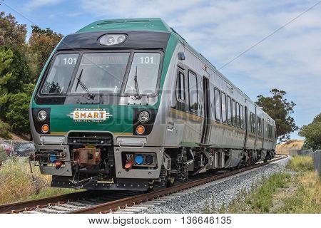 San Rafael California - June 10 2016 : SMART (Sonoma Marin Area Rail Transit) train testing of new cars on new rails.