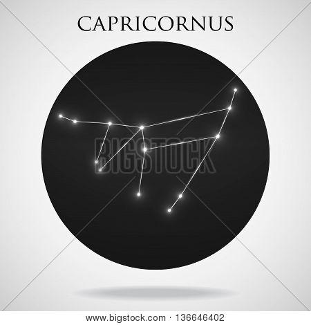 Constellation capricornus zodiac sign isolated on white background