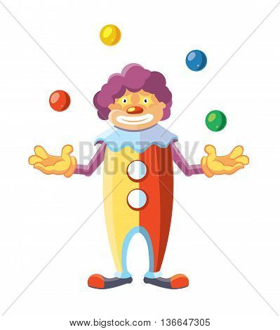 Vector cartoon illustration of cute clown juggler isolate on white background.