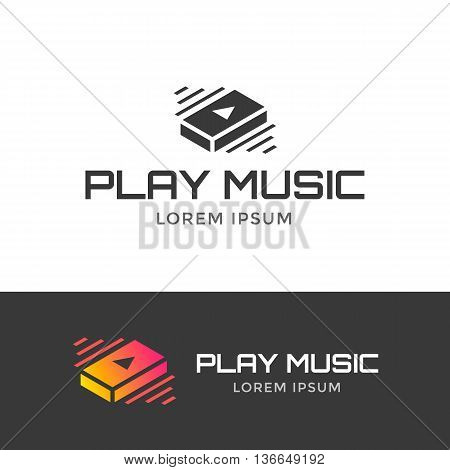 Play music logo. Music isometric icon. Vector illustration play music button.