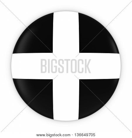Cornish Flag Button - Flag Of Cornwall Badge 3D Illustration