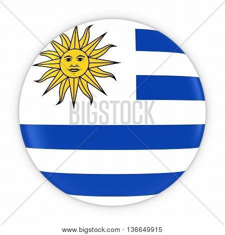 Uruguayan Flag Button - Flag Of Uruguay Badge 3D Illustration