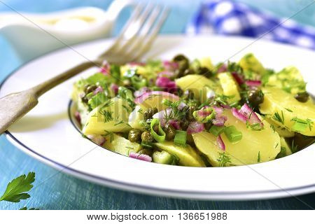 Healthy Salad From New Potato,capers,marinated Onion And Dill.