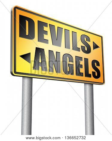 devils and angels good or bad heaven and hell road sign arrow, 3D illustration, isolated on white